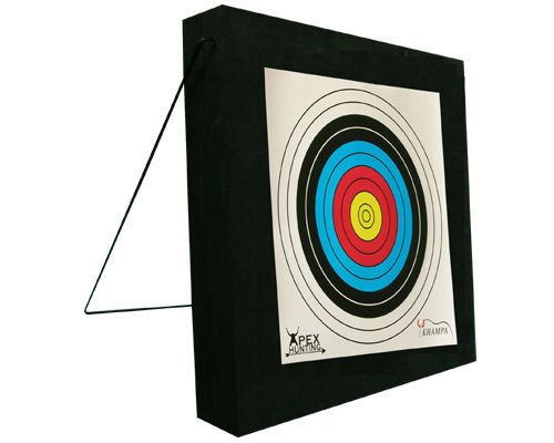KHAMPA Deluxe Double Layer Backyard Archery Target - 2 x 2 Feet - Includes 2 Paper Targets and Push pins - for High Powered Bows