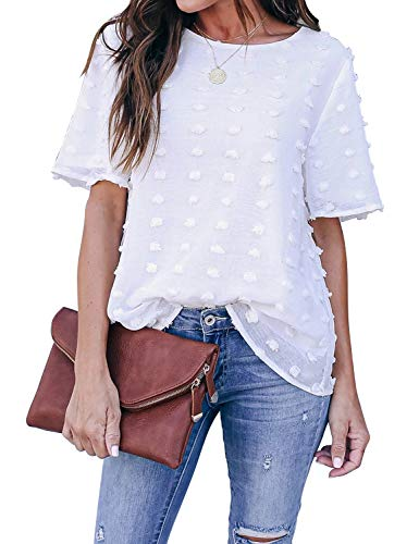 Blooming Jelly Womens Chiffon Blouse Summer Casual Round Neck Short Sleeve Pom Pom Shirts Top
