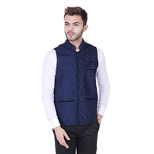 41zLJVtHdQL. SS500  - AKAAS Men's Poly Cotton Solid Button Chinese Collar Waist Coat Nehru Jacket for Marriage Party Ceremony