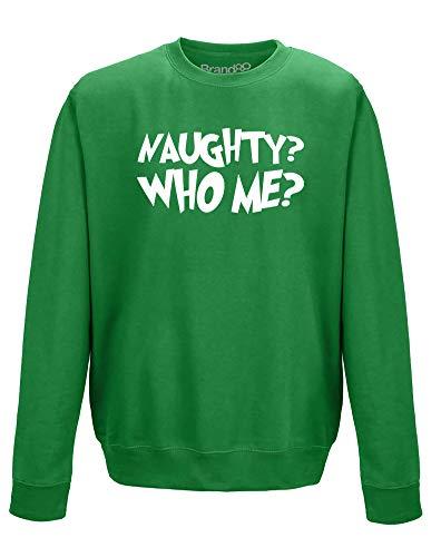 Brand88 Naughty? Who Me?, Adults Sweatshirt - Kelly Green/White M