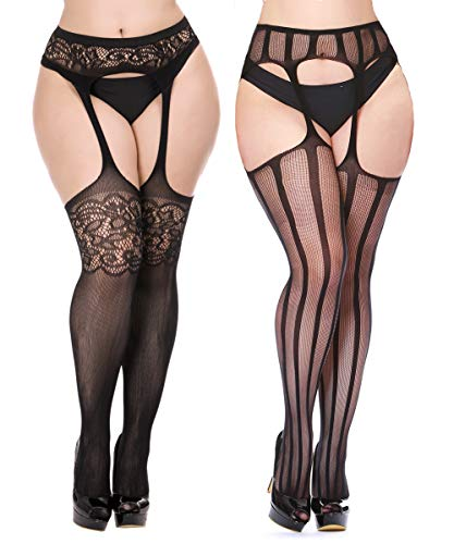 CURRMIEGO Womens Fishnet Suspender Tights plus size patterned pantyhose Stockings 2-Pairs (Black P1204, Plus Size) -