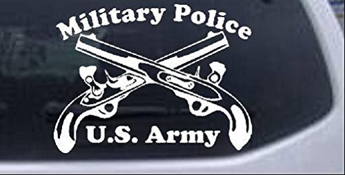 Military Police Cross Pistols With Text Military Car or Truck Window Laptop Decal Sticker -- White 8in X 6in