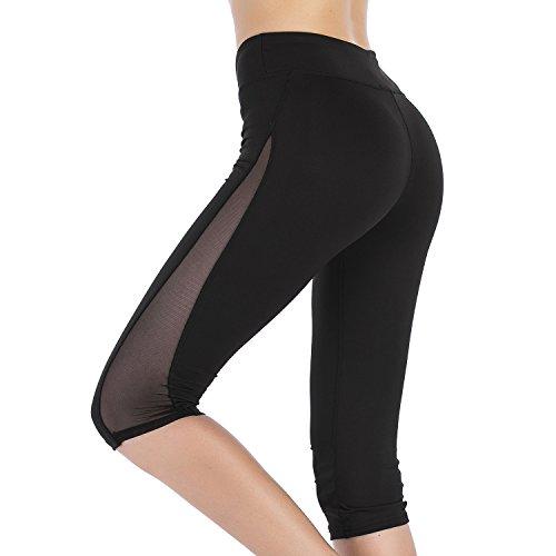 Imido Women's Yoga Capri Legging Mesh Tights Sport Workout Running Pants With Side Pocket (M, Capri Pants)