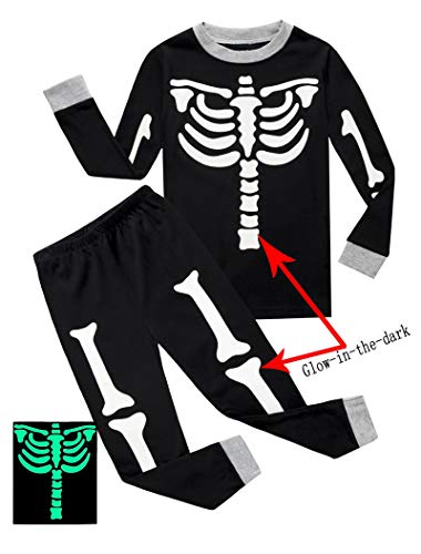 if pajamas baby boys skeleton halloween pajamas sets long sleeve kids toddler pjs size 12