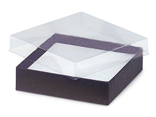 Pack of 100 35 x 35 x 1 clear lid boxes wchocolate bases pack of 100 35 x 35 x 1 clear lid boxes w m4hsunfo