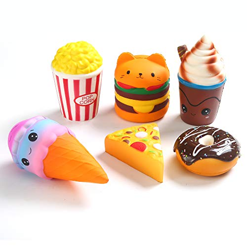 Kingyao 6pcs Slow Rising squishies Squishy Toys Jumbo squishies, Hamburger Popcorn Cake Ice Cream Pizza Kawaii Squishy Toys or Stress Relief Squeeze Toys Party Favors for Kids Adults Decorative -