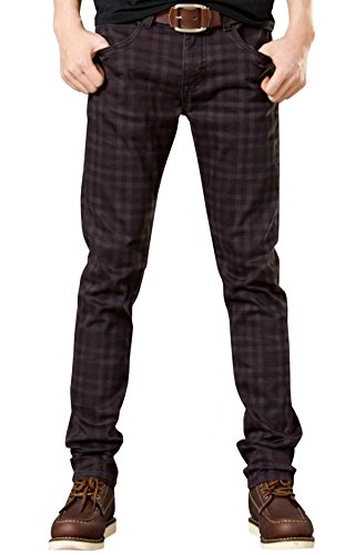 HENGAO Men Plaids Stretch Slim Fit Casual Jeans Pants, Wine Red, 36 ()