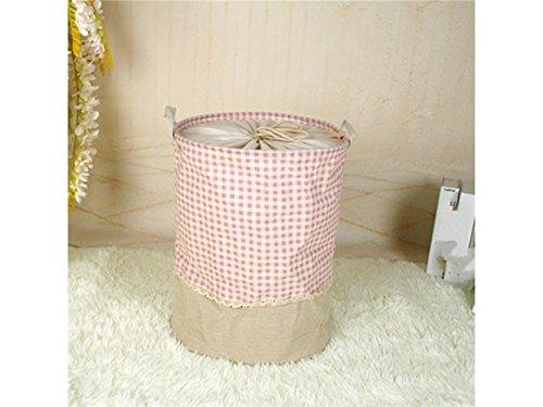 Gelaiken Lightweight Plaid Pattern Tote Storage Basket Storage Bag Cotton and Linen Storage Box Sundries Storage Bucket(Pink) by Gelaiken