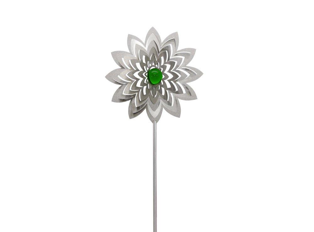 Combini Gartenstecker Blü te Azalea 3D mit smaragdgrü ner 35mm Glaskugel Illumino