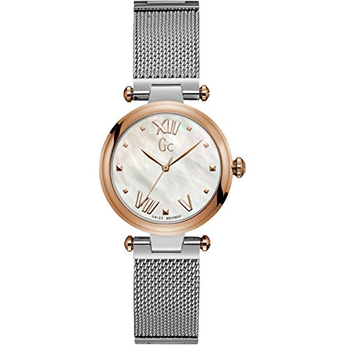 (GC Women's Gc PureChic 32mm Steel Bracelet & Case Quartz MOP Dial Analog Watch Y31003L1)