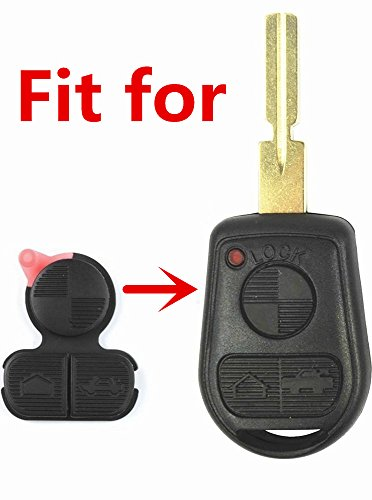 BMW Key Replacement Button Pad Smart Remote Key Fob Shell Case Cover Pad for BMW 318i 323i 525i 528i 530i 535i 540i 735i 740i 740iL (Bmw Replacement Key)