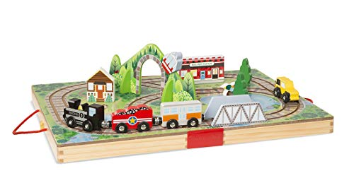 Faerynicethings 17 Piece Wooden Take Along Tabletop Railroad - 3+ Years -