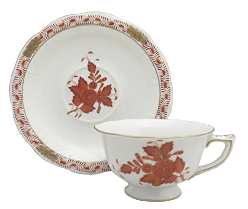 Herend Chinese Bouquet Rust (Aog) Footed Demitasse Cup & Saucer Set