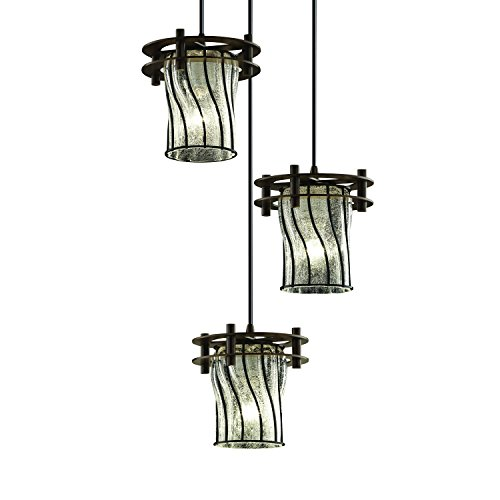 Justice Design Group Wire Glass 3-Light Pendant - Dark Bronze Finish with Swirl with Clear Bubbles Wire Cage w/Blown Glass Shade