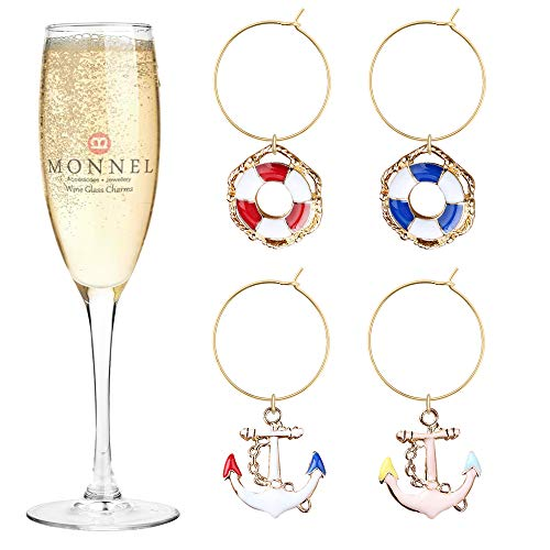 P451 Brand New Boat Anchors Wheels Wine Charms Glass Marker for Party with Velvet Bag- Set of 4 4 Wine Glass Charms