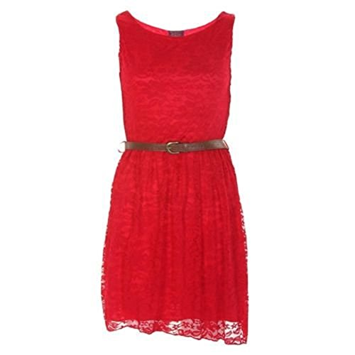 14 Ladies Lace Shift Size Skater Red Dress Girls Belted AUS Sleeveless 8 rqr6v