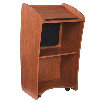 Oklahoma Sound 612-CH Basic Vision Podium with Digital Display, 24'' Width x 46'' Height x 21'' Depth, Wild Cherry