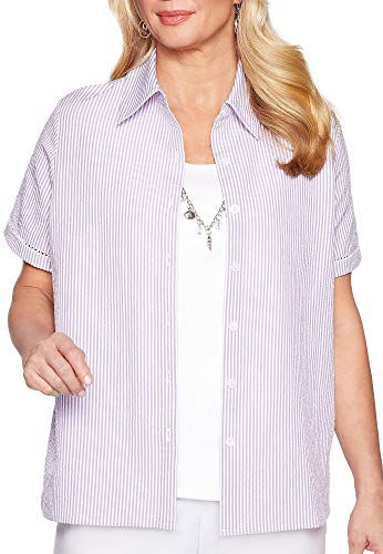 (Alfred Dunner Women's Catalina Island Seersucker Two for One Top (Petite Large, Lilac))