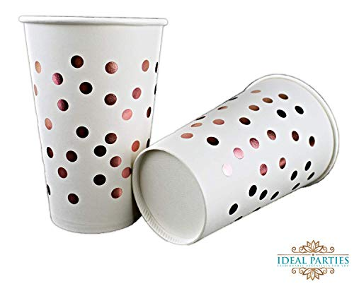 50 Count Rose Gold Dot Disposable Cups 12 oz Paper Drinking Cups for Party Wedding Elegant Fancy Decorations Holiday Anniversary Birthday Supplies Bachelorette Baby Shower