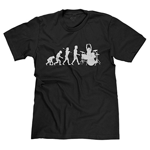 FreshRags Evolution of Drummer Rock Star Metal Band Gamer Men's T-shirt LG ()