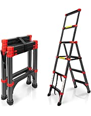 BEETRO Telescoping Ladder A Type Aluminum Extension Ladder 5FT Lightweight Portable Multi-Purpose Folding Ladder with Non-Slip Cap, 330 Pound Load Capacity