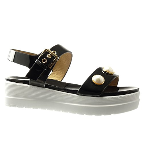 Angkorly - Zapatillas de Moda Sandalias Mules zapatillas de plataforma mujer joyas tanga brillantes Talón Plataforma 5 CM - Negro