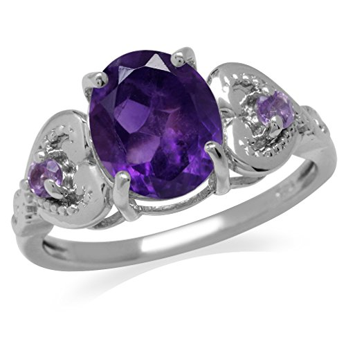 2.42ct. Natural African Amethyst White Gold Plated 925 Sterling Silver Heart Victorian Style Ring Size 7