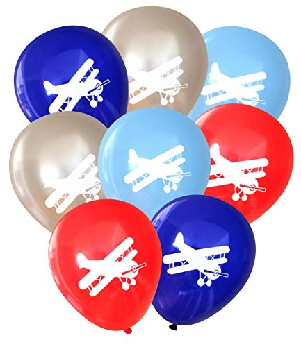Biplane Vintage Airplane Party Balloons (16 pcs) by Nerdy Words]()