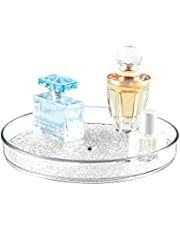 "iDesign Rain Lazy Susan Turntable Cosmetic Organizer for Vanity Cabinet, Bathroom, Kitchen Countertop to Hold Makeup, Beauty Products, 9"" x 9"" x 1.5"", Clear"