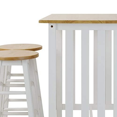 Casual Home 3-Piece Breakfast Set with Solid American Hardwood Top, White by Casual Home (Image #7)