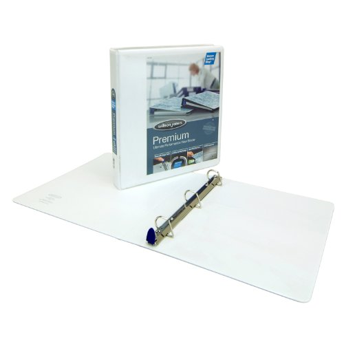D-ring Premium White View Binder (Wilson Jones Single Touch Locking D-Ring View Binder, 1.5 Inch, 8.5 x 11 Inch Sheets, Premium, 866 Series, Customizable, White)