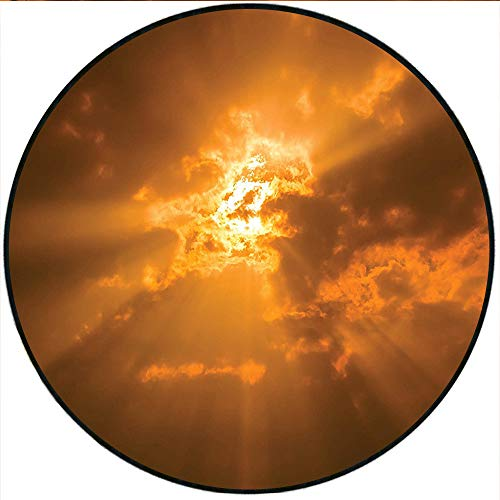 """Short Plush Round Area Rug Collection Sun Shining thruogh The Clouds in The Sky Sunburst View Decorating Picture Artwork Orange Living Room Bedroom 19.7"""" x 19.7"""" Round"""