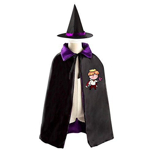 Homemade Prince Costumes For Kids (Prince with Flower Reversible Halloween Cape and Witch Hat for Kids purple)