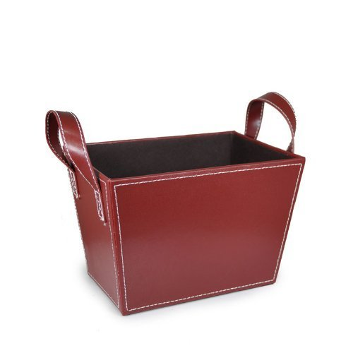The Lucky Clover Trading Roosevelt Faux Leather Bin with Handles, Burgundy