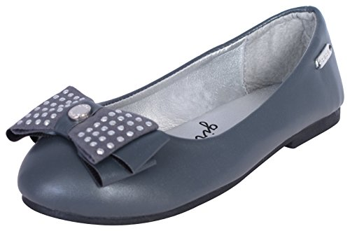bebe Girls Ballet Flats With Studded Bow - Dress Casual Ballerina Slip On Shoes, Grey/Silver, Size (Bebe Black Dress)