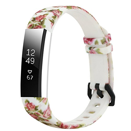 honecumi Floral Replacement Wrist Strap Compatible with Fitbit Alta/Alta HR Pattern Watch Bands Exchange Accessory for Men Women Adjustable Fitbit Alta HR Band with Metal -