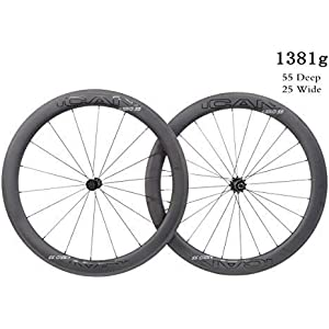 ICAN Superlight 1381g carbono Road Bike ruedas 55mm profundo Clincher tubeless Ready con eje recto 18