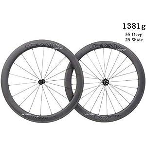 ICAN Superlight 1381g carbono Road Bike ruedas 55mm profundo Clincher tubeless Ready con eje recto 18