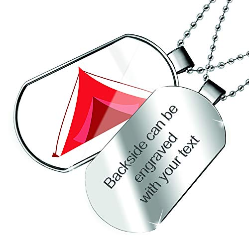 NEONBLOND Personalized Name Engraved Kids Design Red Camping Tent Dogtag - Red Tent Engraved