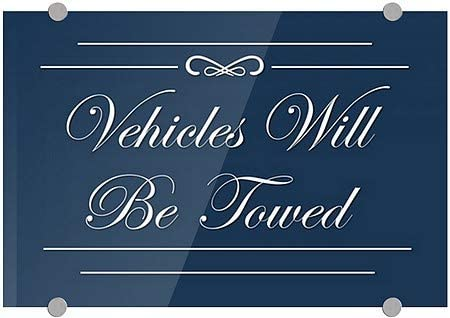 Vehicles Will Be Towed 16x16 Victorian Card Premium Acrylic Sign 5-Pack CGSignLab