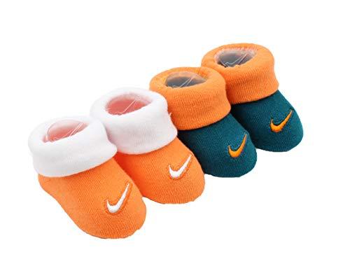 (Nike New Born Infant 2 Pair Booties (Bright Mandarin (N63), 0-6 Months))