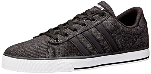 Adidas Neo Men's SE Daily Vulc Lifestyle Skateboarding Shoe,Black/Black/White,10.5 M US - Mens Canvas Low Skate Shoe
