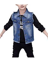HomeToy Boy's Solid Color Denim Vest Kids Casual Sleeveless Jean Jacket