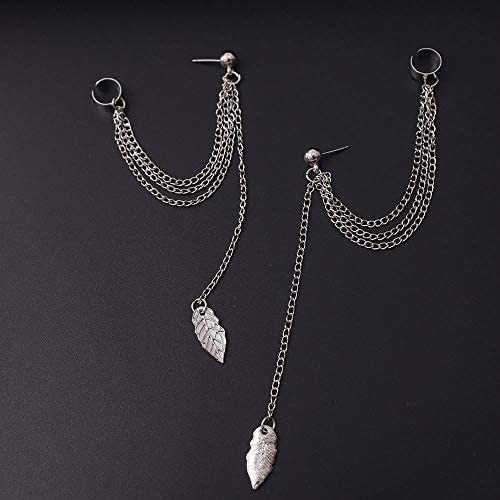 FXmimior Fashion Women Earrings Leaf Plume Pendant Long Chain Drop Dangle Earrings Jewelry (Silver)