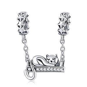 BAMOER – Ciondolo a Forma di Gatto, in Argento Sterling 925, per Braccialetto a Catena a Serpente