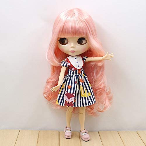 DORA⊕BRSFortune Days Nude Blyth doll No.280BL1010 Pink curly hair with bangs JOINT body White skin Factory Blyth