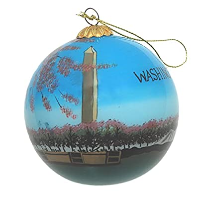 Hand Painted Glass Christmas Ornament - Washington D. C. - Washington Monument with Cherry Blossoms