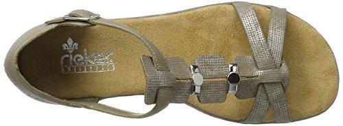 Rieker 61749, Sandalias con Cuña para Mujer Beige (Fango-silver / 64)