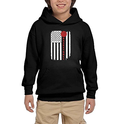 Alma Hoodies American Flag Basketball USA Patriotic 100% Cotton Pullover Sweatshirt With Pocket For Kid