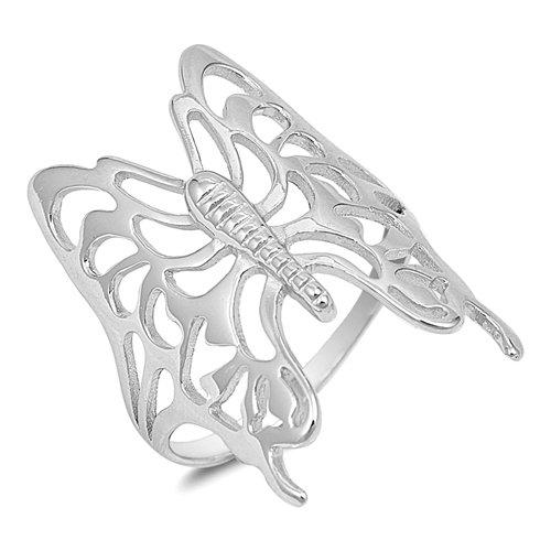 Bague en argent sterling Motif papillon